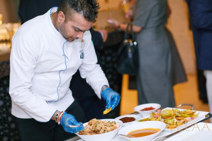 Velaa Private Island's Executive Chef, Gaushan de Silva, preparing canapés at their event at the Capital Club, Dubai.jpg